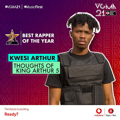 #VGMA21: Kwesi Arthur Wins Rapper Of The Year