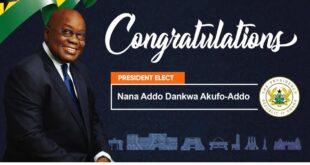 Breaking: Nana Addo Dankwa Akufo-Addo Is President Elect